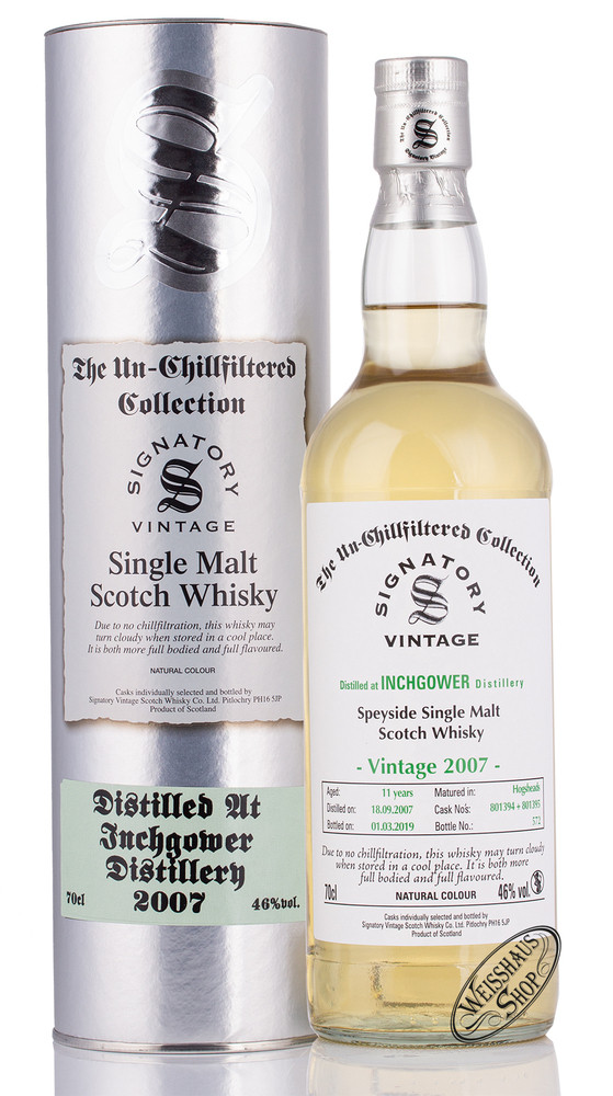 Inchgower Vintage 2007 Signatory Un-Chillfiltered Whisky 46% vol. 0,70l