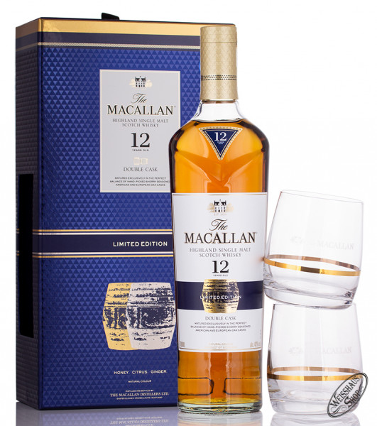 Macallan 12 YO Double Cask Whisky Geschenk-Set 40% vol. 0,70l