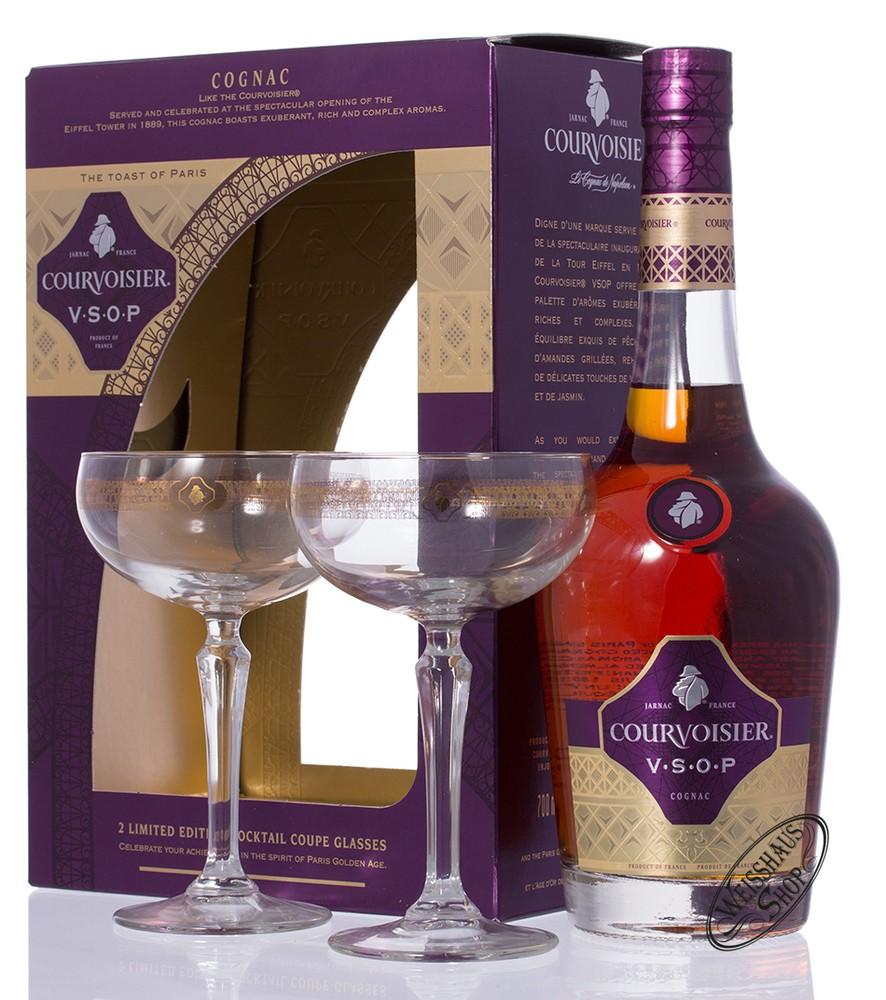 Courvoisier VSOP Cognac GEPA mit 2 Cocktailschalen 40% vol. 0,70l