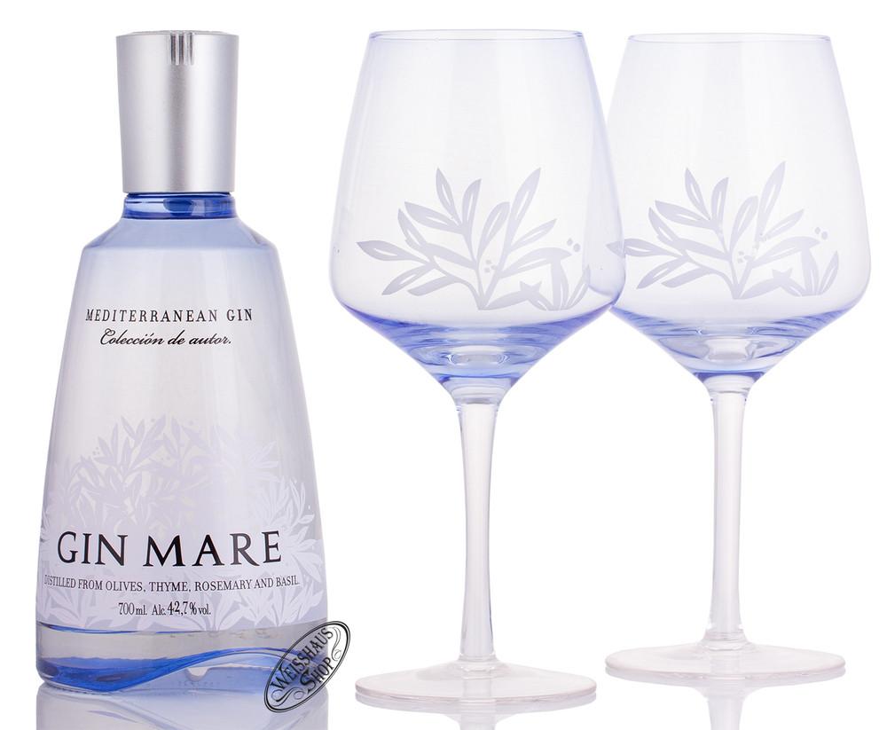 Gin Mare Gin Geschenk-Set mit 2 Balloon Gl�sern 42,7% vol. 0,70l