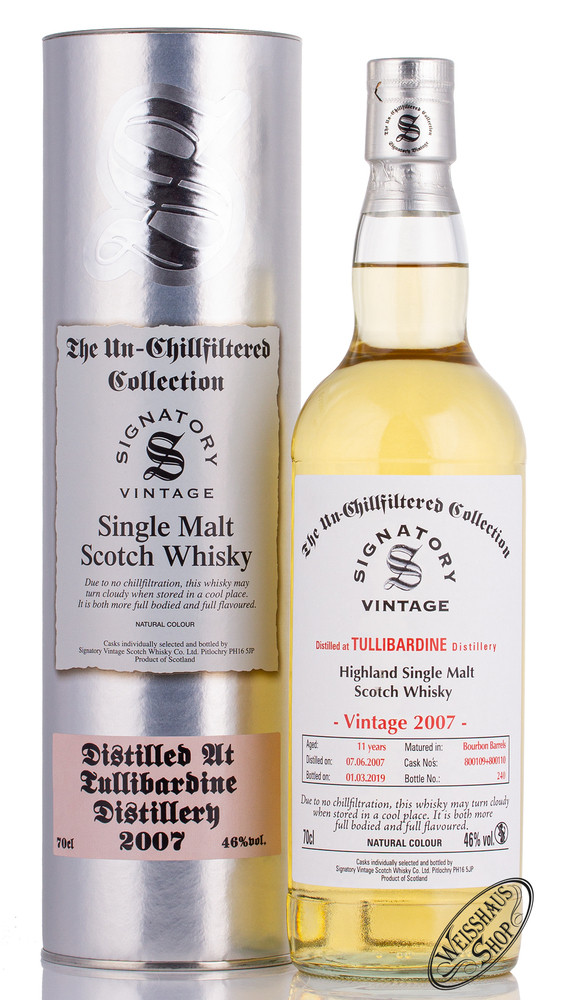 Tullibardine Vintage 2007 Signatory Un-Chillfiltered Whisky 46% vol. 0,70l