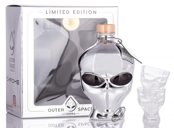 Outer Space Vodka Chrome Edition in GP mit 2 Gläsern 40% vol. 0,70l