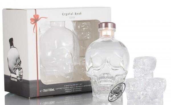 Crystal Head Vodka mit 4 Skull-Shotgläser 40% vol. 0,70l