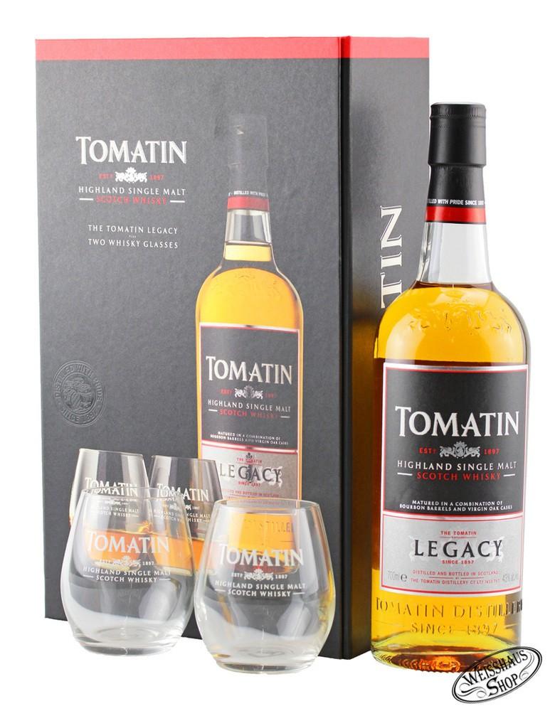 Tomatin Legacy Whisky GEPA mit 2 Gl�sern 43% vol. 0,70l