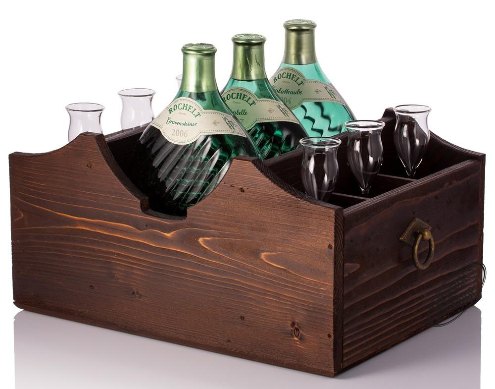Rochelt Servierladen f�r 3 Flaschen und 6 Gl�ser - Landhausstil