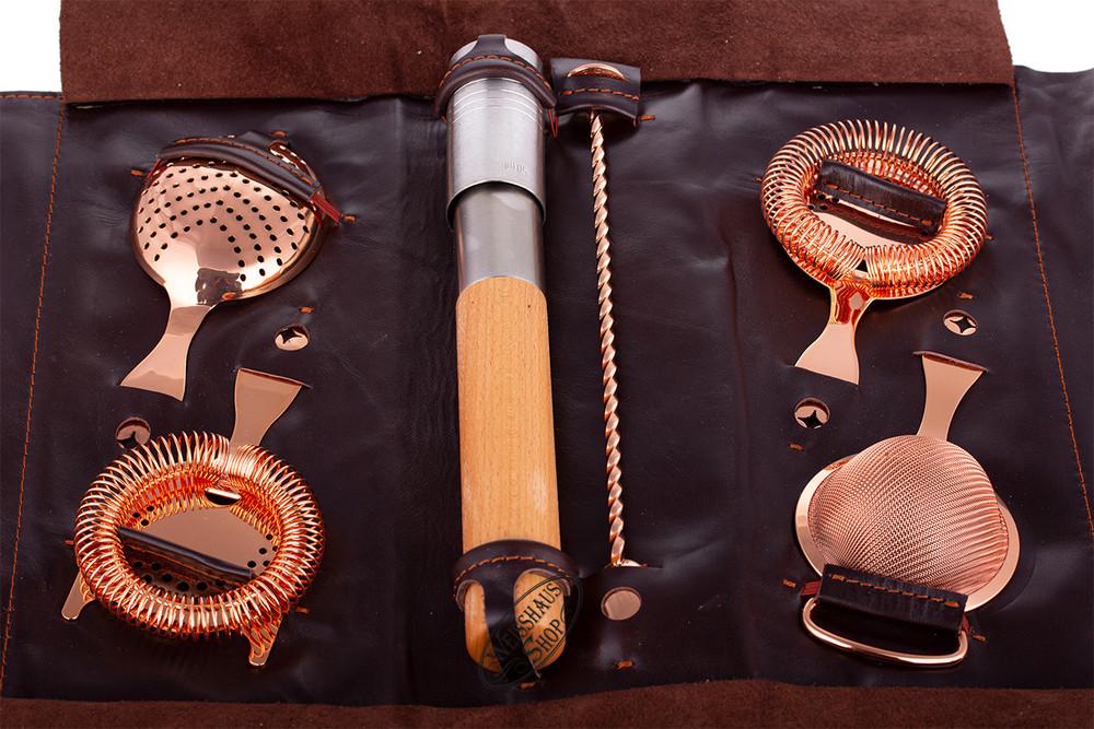 Bonzer Barware Bonzer Leather Roll Bag Copper - Full Set