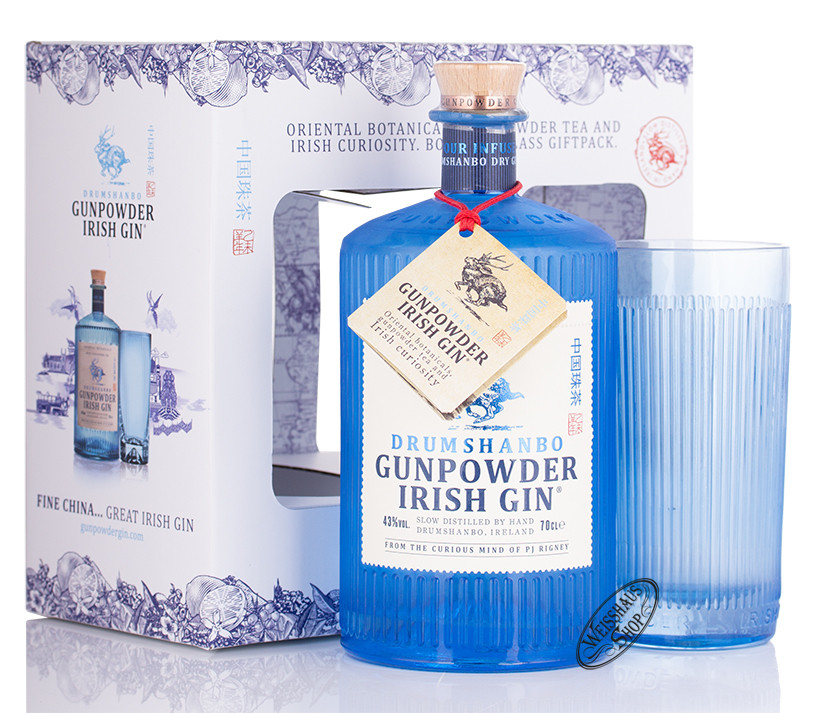Shed Distillery Drumshanbo Gunpowder Irish Gin Geschenk-Set 43% vol. 0,70l