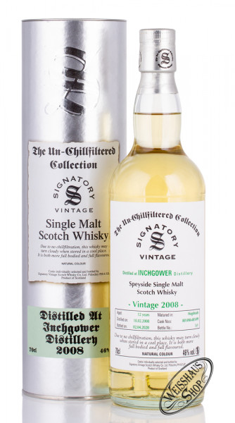 Inchgower Vintage 2008 Signatory Un-Chillfiltered Whisky 46% vol. 0,70l
