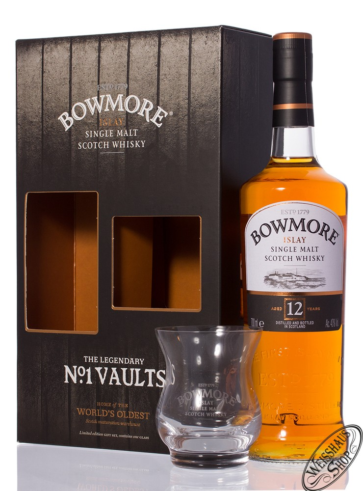 Bowmore 12 YO Whisky GEPA mit Glas 40% vol. 0,70l