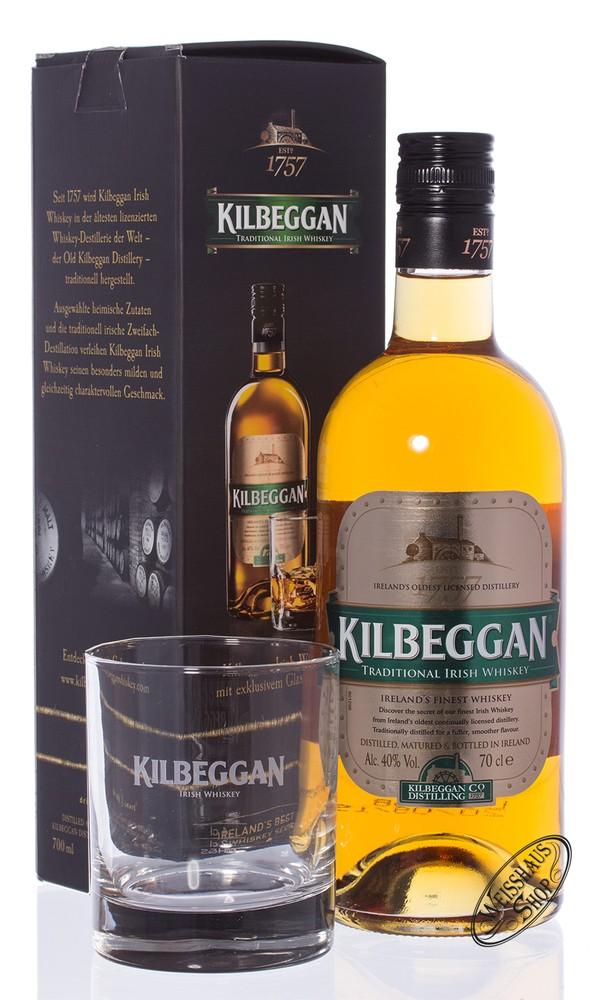 Kilbeggan Irish Whiskey GEPA mit Glas 40% vol. 0,70l