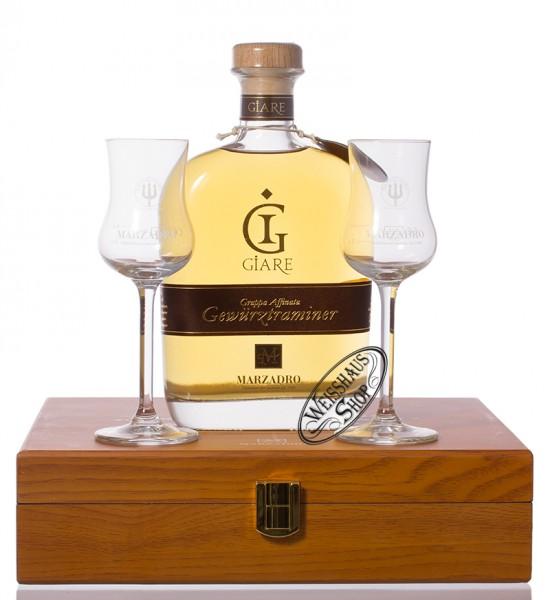 Marzadro Grappa Le Giare Gewürztraminer mit 2 Gläsern 41% vol. 0,70l