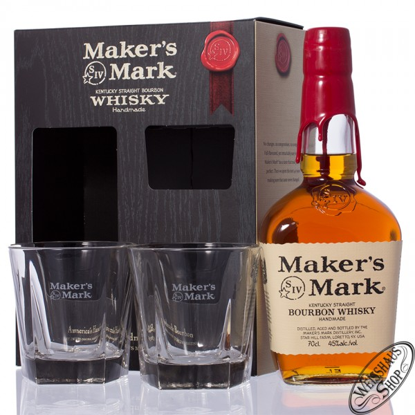 Maker's Mark Bourbon Whisky GEPA mit 2 Gläsern 45% vol. 0,70l