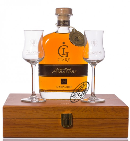 Marzadro Grappa Le Giare Amarone mit 2 Gläsern 41% vol. 0,70l