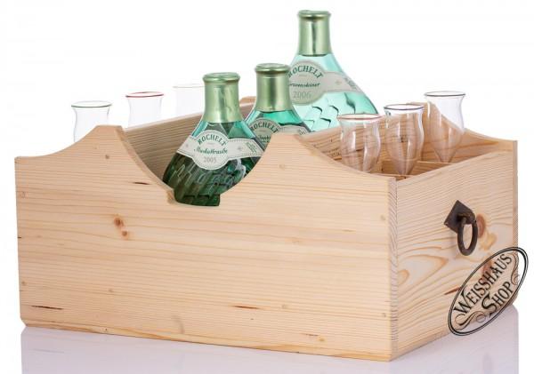 Rochelt Servierladen für 3 Flaschen und 6 Gläser - Landhausstil hell