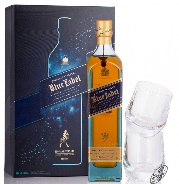 Johnnie Walker Blue Label Whisky Geschenk-Set 40% vol. 0,70l