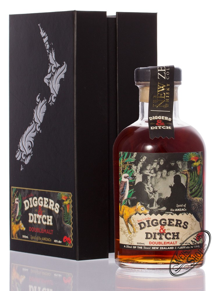 New Zealand Whisky New Zealand Diggers & Ditch Whisky 45% vol. 0,50l