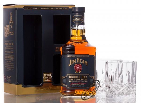 Jim Beam Double Oak Bourbon Whiskey GEPA mit Glas 43% vol. 0,70l
