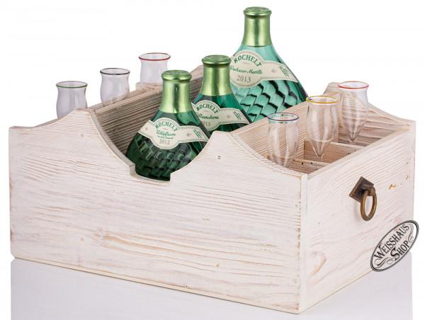 Rochelt Servierladen für 3 Flaschen und 6 Gläser - Landhausstil weiß