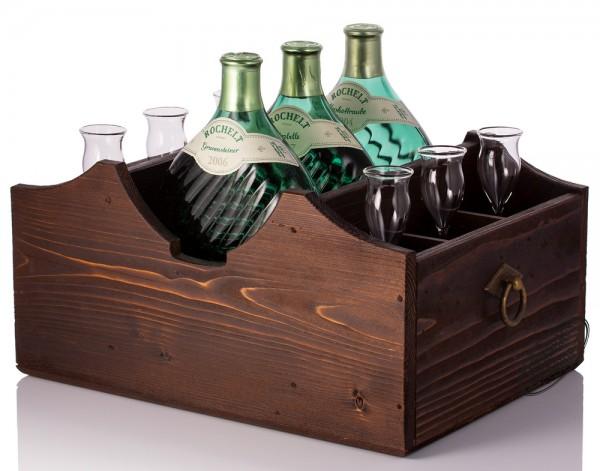 Rochelt Servierladen für 3 Flaschen und 6 Gläser - Landhausstil