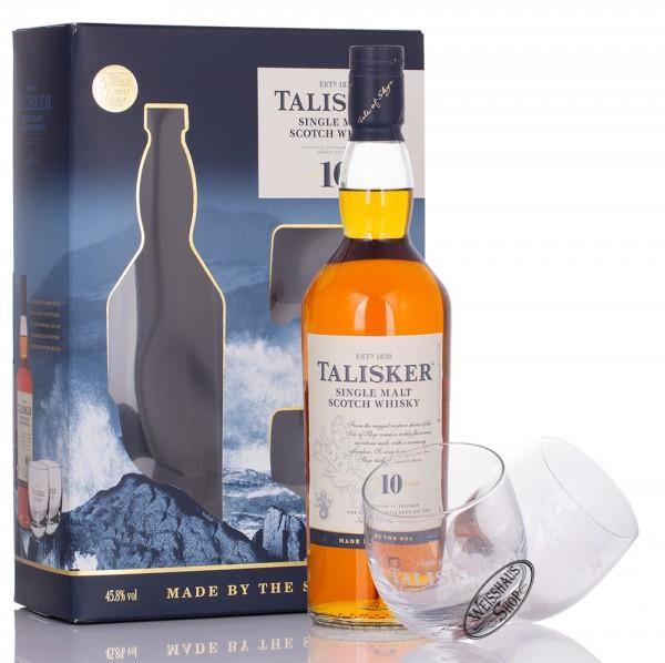 Talisker 10 YO Whisky GEPA mit 2 Rocking Gläsern 45,8% vol. 0,70l